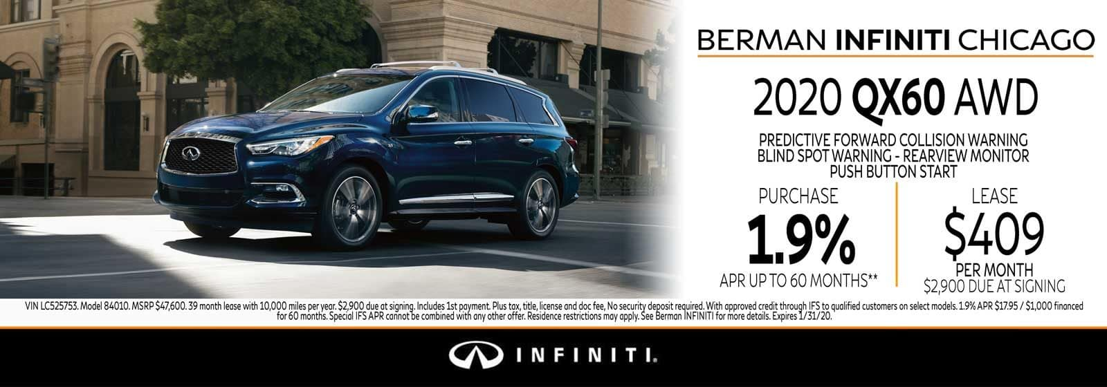 New 2020 INFINITI QX60 January offer at Berman INFINITI Chicago!