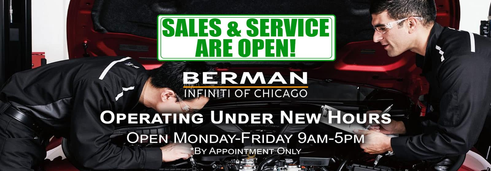 Sales & Service are OPEN! We Are Now Operating from 9am-5pm