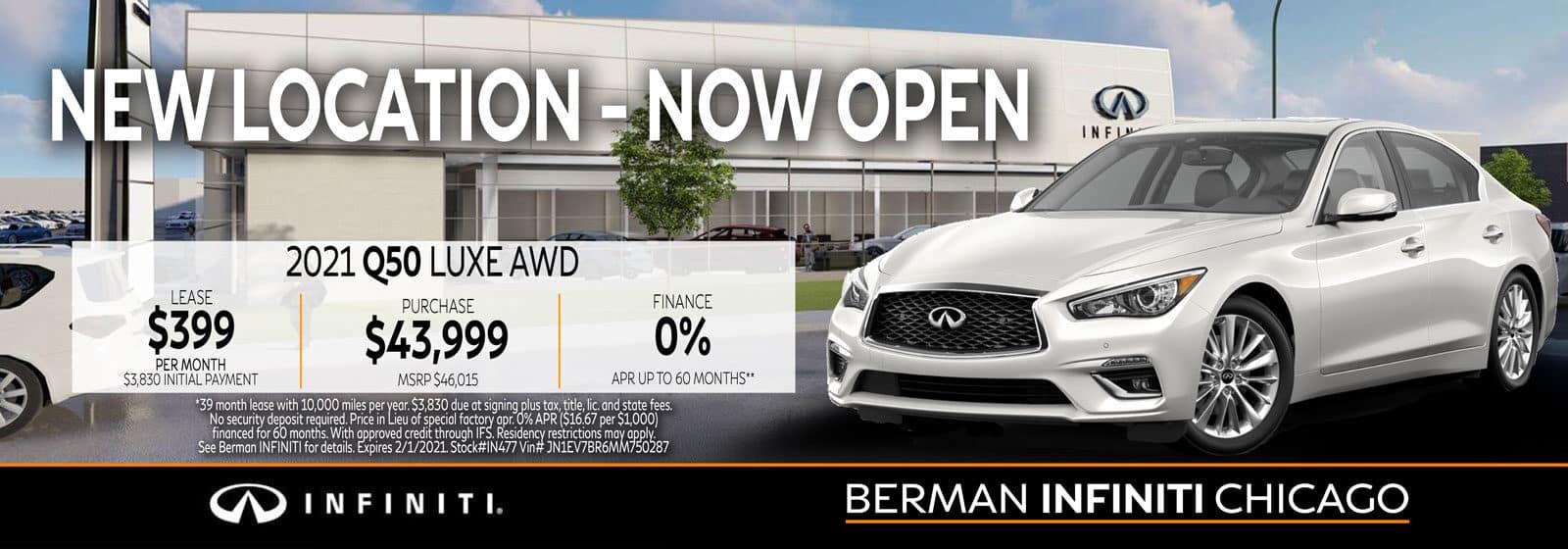 New 2021 INFINITI Q50 January offer at Berman INFINITI Chicago!