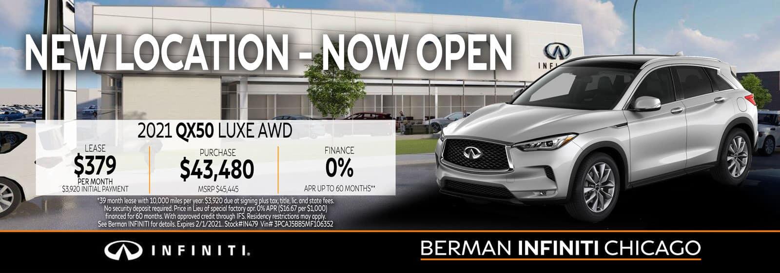 New 2021 INFINITI QX50 January offer at Berman INFINITI Chicago!