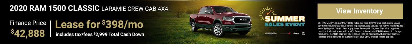 2020 RAM 1500 LARAMIE CREW CAB 4X4 Finance Price $42,888