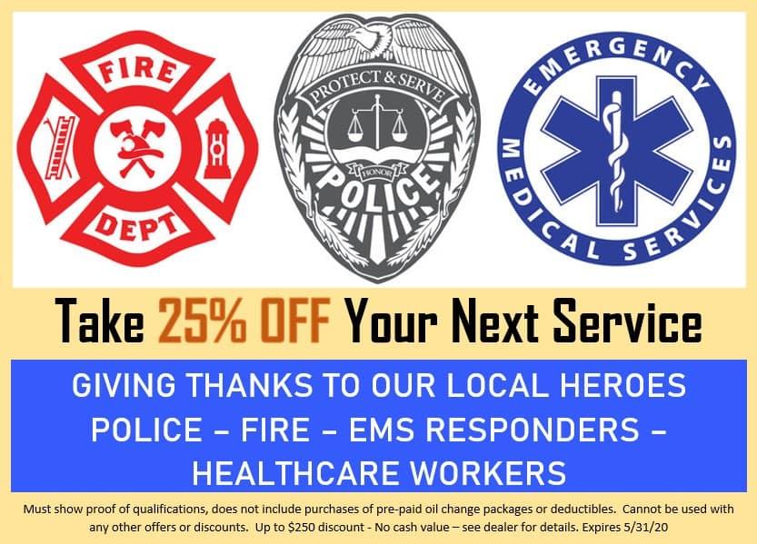 First Responders get 25% off next service