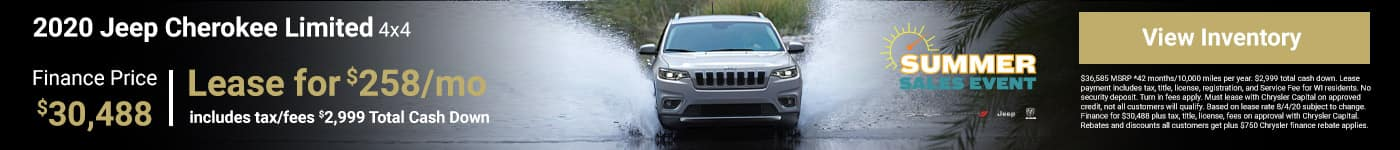 2020 JEEP CHEROKEE LIMITED 4X4 Finance Price $30,488
