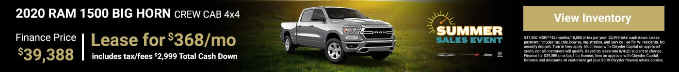 2020 RAM 1500 BIG HORN CREW CAB 4x4 Finance Price $39,388