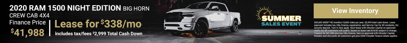2020 RAM 1500 NIGHT EDITION BIG HORN CREW CAB 4X4 Finance Price $41,988
