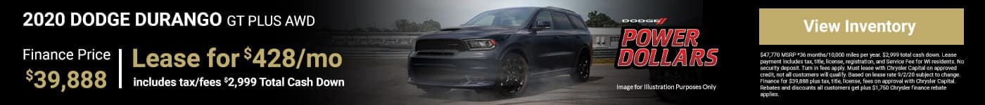 2020 DODGE DURANGO GT PLUS AWD Finance Price $39,888