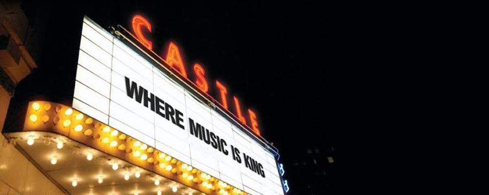 Castle Theatre marquee lit up at night