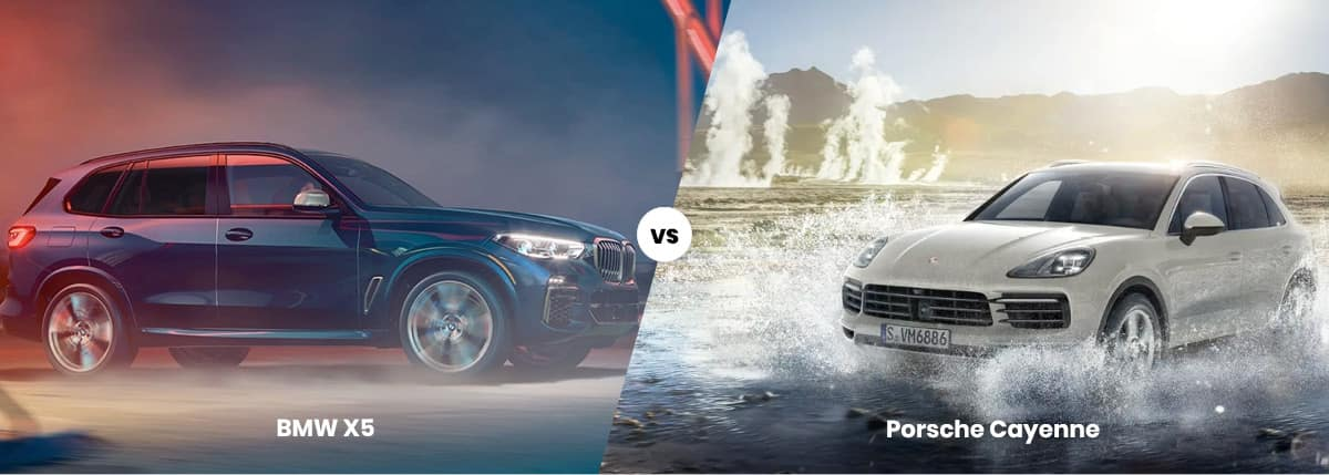 2021 BMw X5 vs 2021 Porsche Cayenne comparison banner