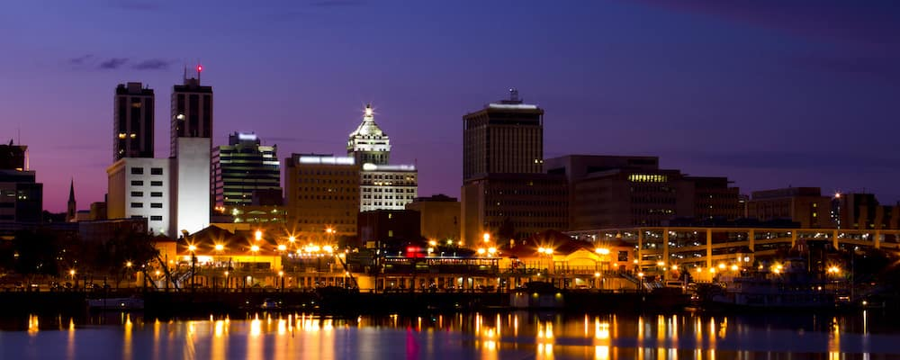peoria il riverfront view at night