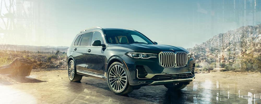 2019 BMW X7 parked outside in a desert mountain area