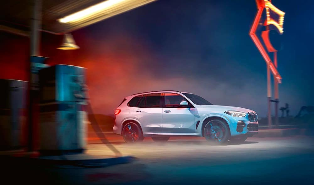 2019 BMW X5 Exterior White near gas station