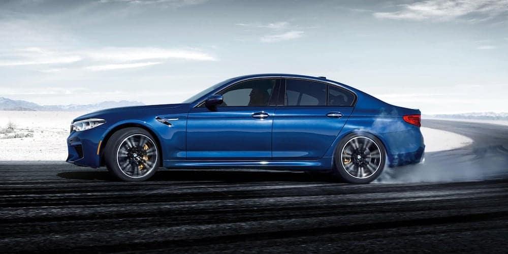 Blue 2020 BMW M5 on Track