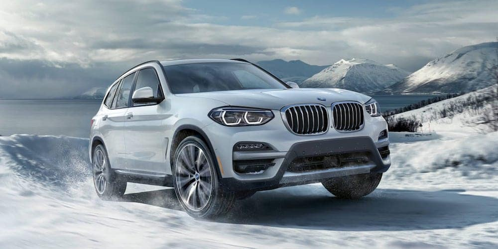 White 2020 BMW X3 on Snowy Road