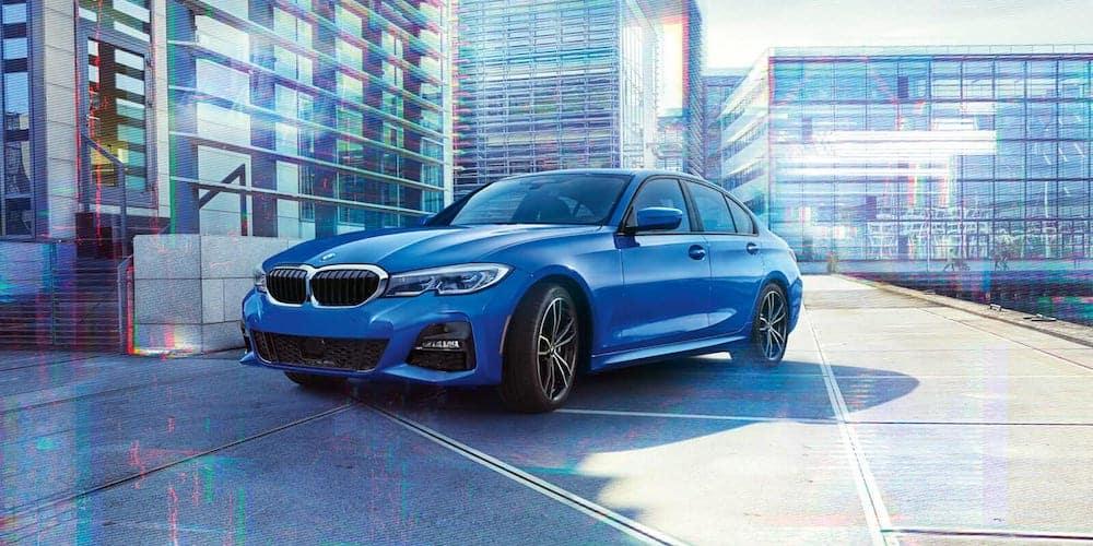 Blue 2020 BMW 3 Series Parked