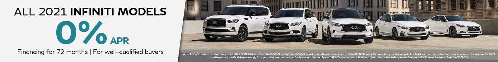 0% APR on all new 2021 INFINITI Models. Click to shop now.
