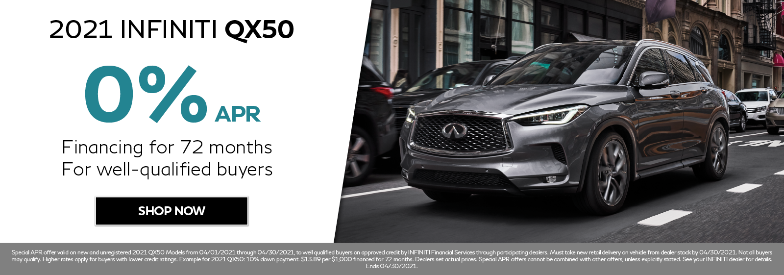 0% APR on new 2021 INFINITI QX50. Click to shop now.