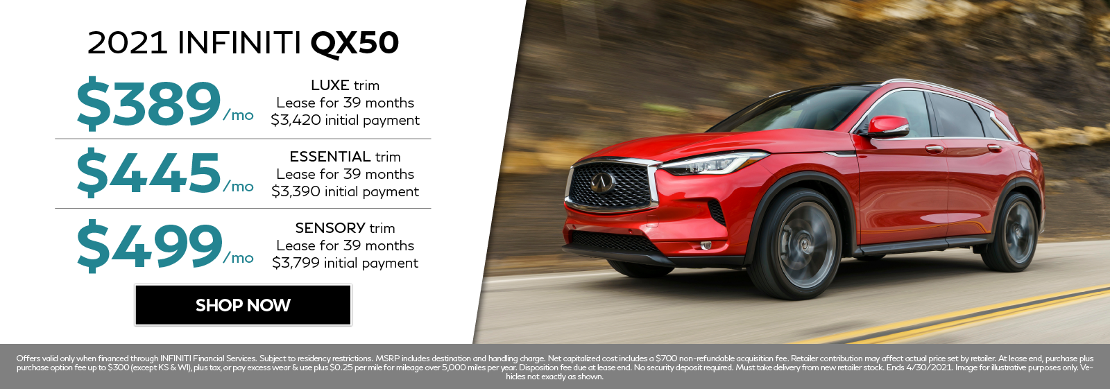 New 2021 INFINITI QX50 lease offers. Click to shop now.