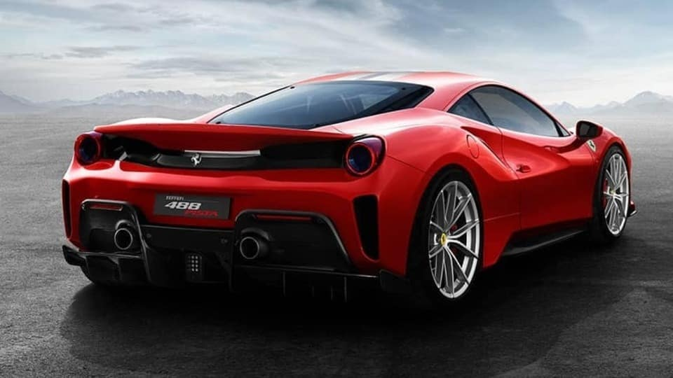 Ferrari 488 Pista Red Rear View