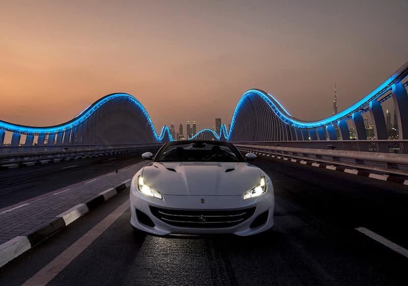 Ferrari Portofino on the road in Dubai