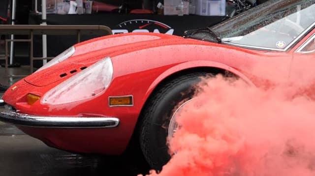 Ferrari and red smoke