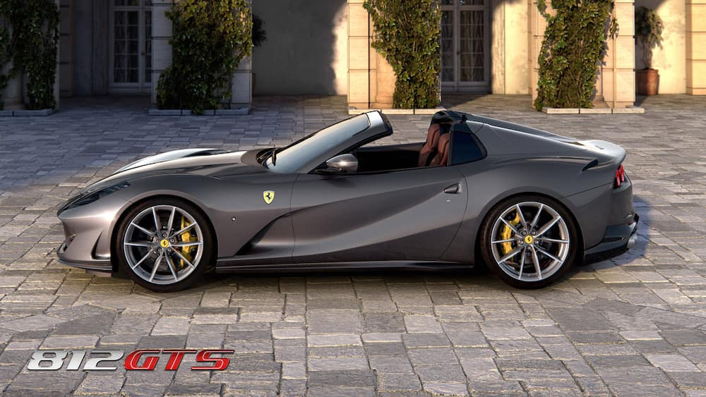 Parked Ferrari 812 GTS from the side