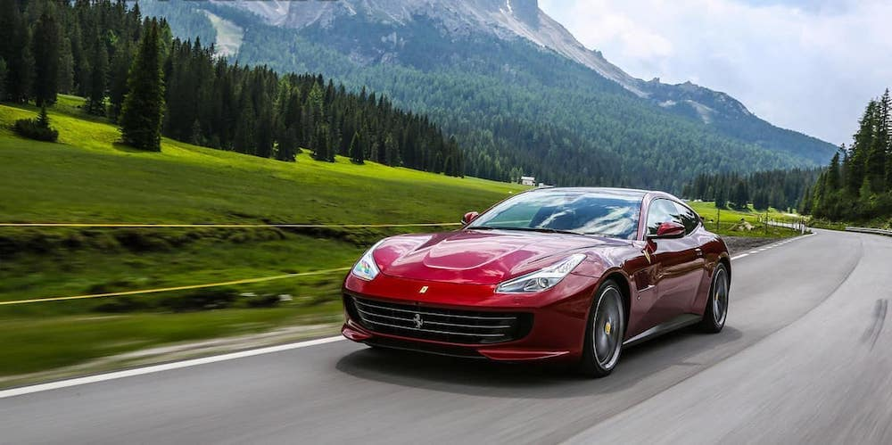Ferrari GTC4Lusso on a country road