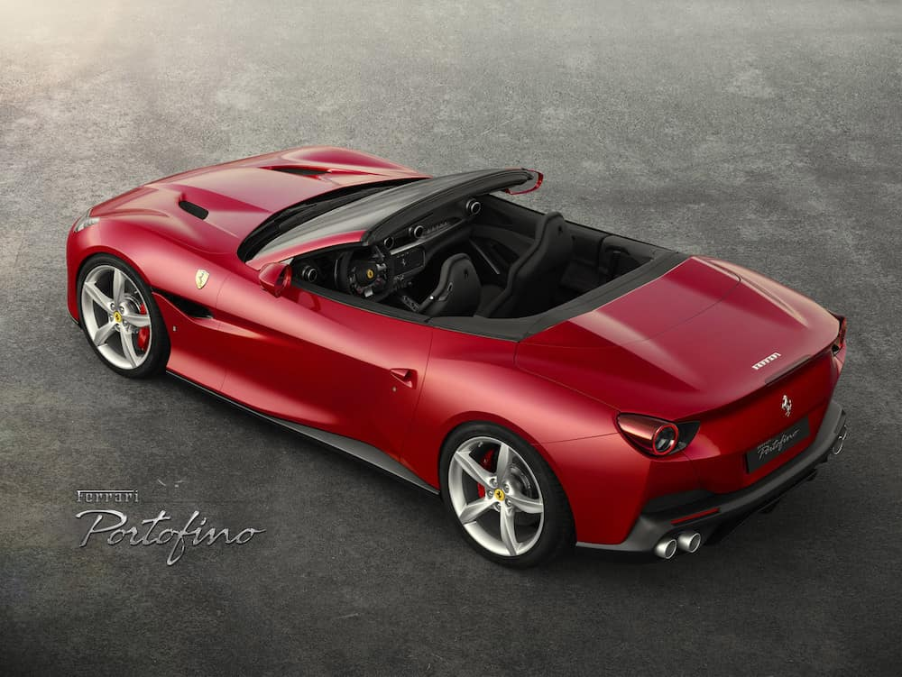 Ferrari Portofino from above with the top down