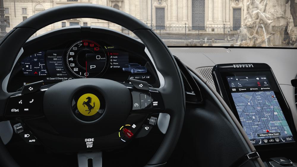 Ferrari Roma instrument panel and center touchscreen