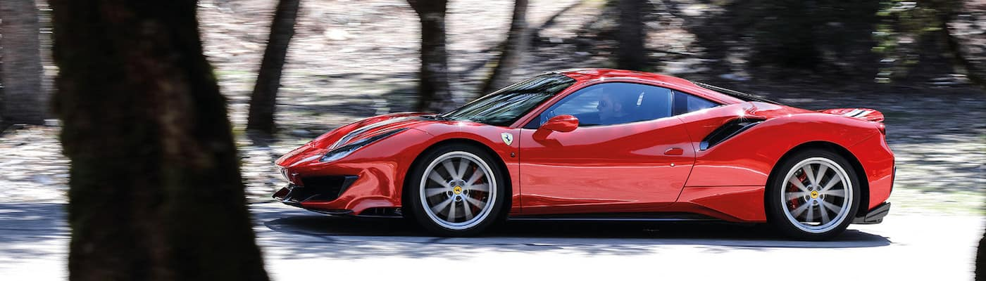 Ferrari 488 Pista on a wooded road