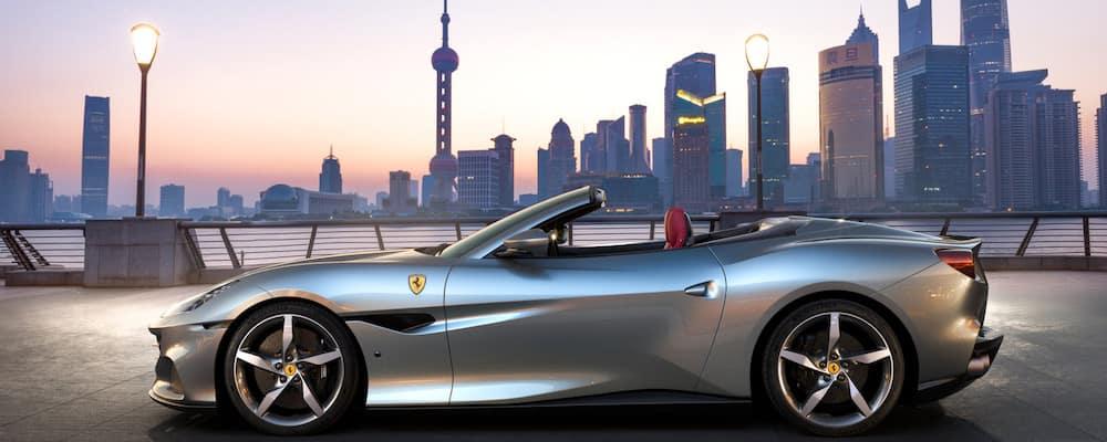 Ferrari Portofino M with a skyline in the background