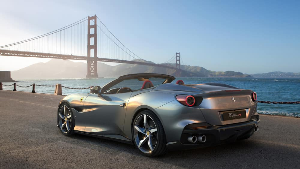 Ferrari Portofino M parked near the Golden Gate Bridge