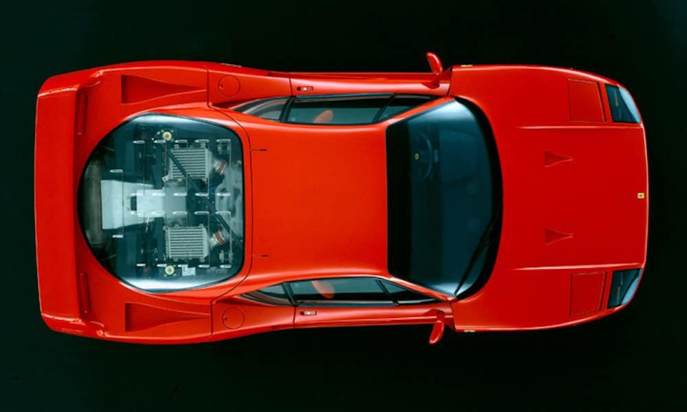 Ferrari F40 from overhead