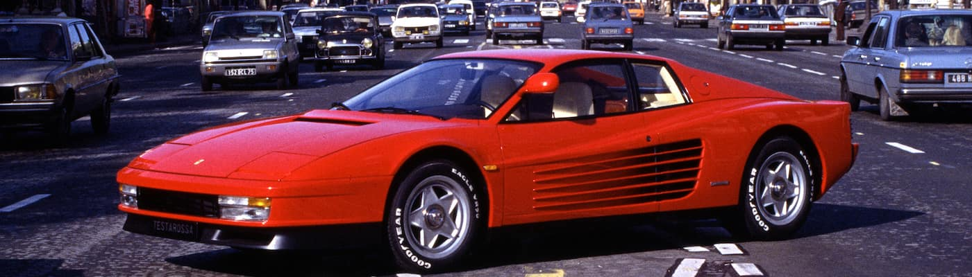 Ferrari Testarossa parked on a city street