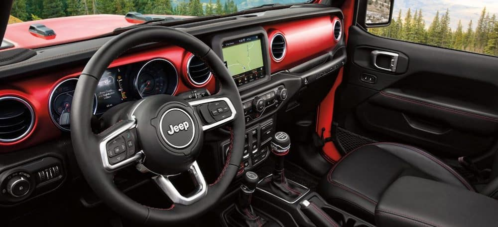 Front interior in a new 2020 Jeep Wrangler