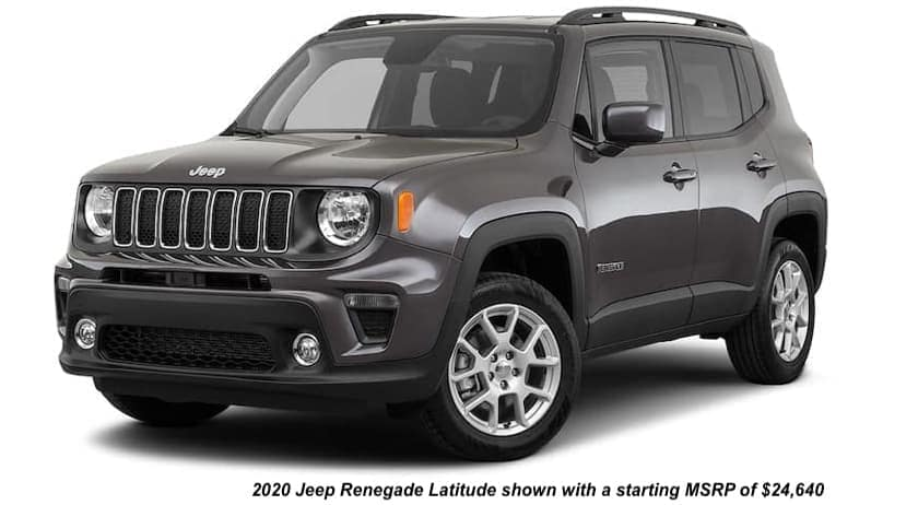A dark gray 2020 Jeep Renegade Latitude is angled left.