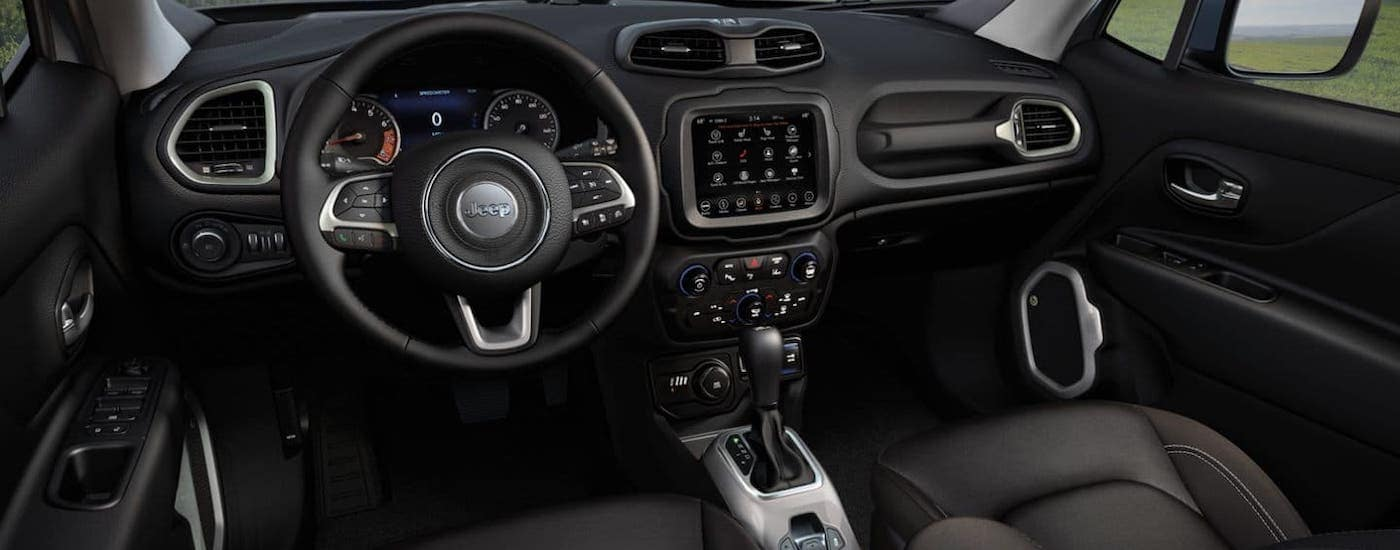 The interior of a 2020 Jeep Renegade is shown.