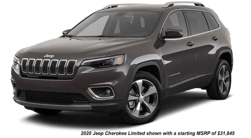 A brown 2020 Jeep Cherokee is angled left.