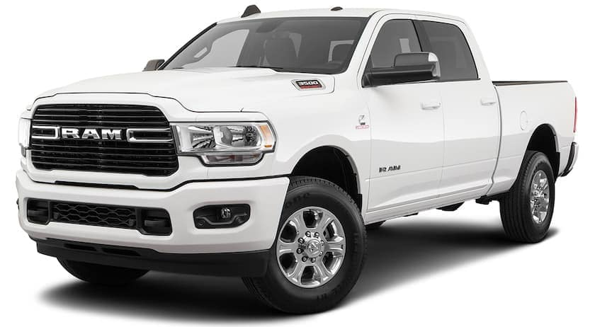 A white 2020 Ram 3500 Big Horn is angled left.