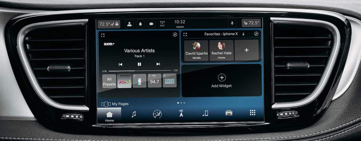 A close up shows the infotainment screen on a 2021 Chrysler Pacifica.