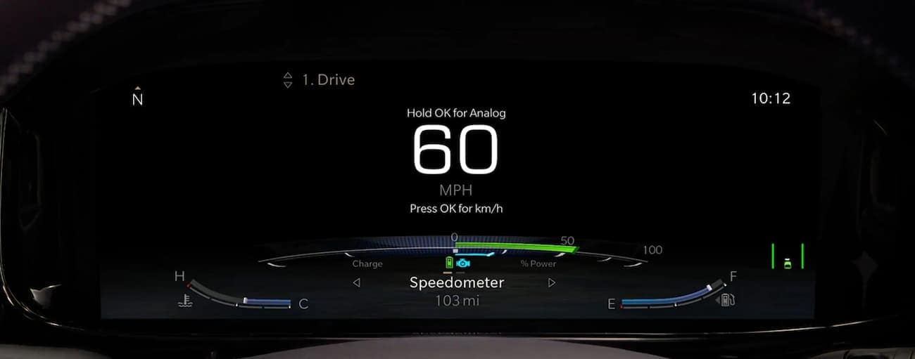 The digital gauge on a 2022 Wagoneer shows 60mph.