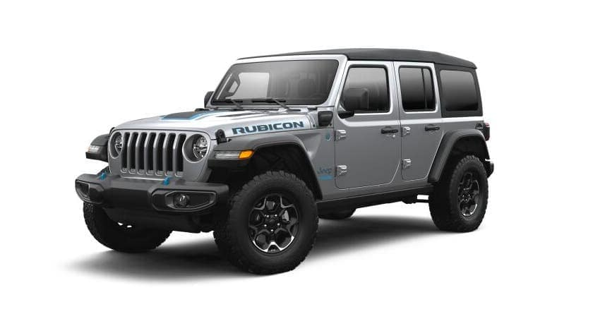 A silver 2021 Jeep Wrangler 4xe is angled left.
