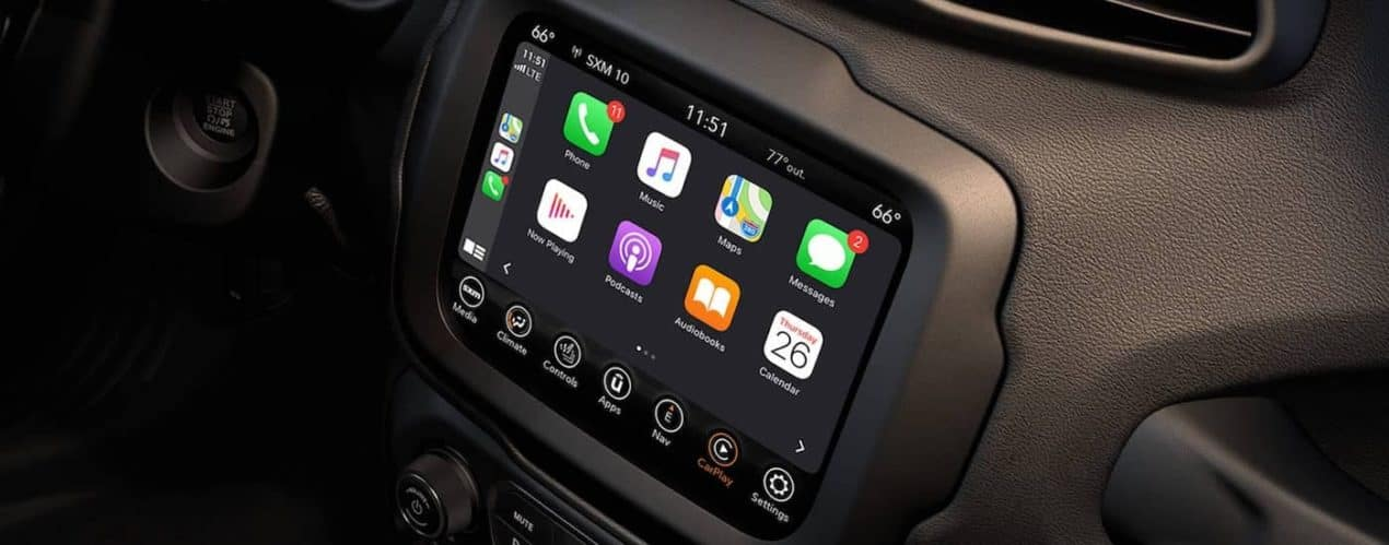 The infotainment screen and apps are shown in a 2021 Jeep Renegade.
