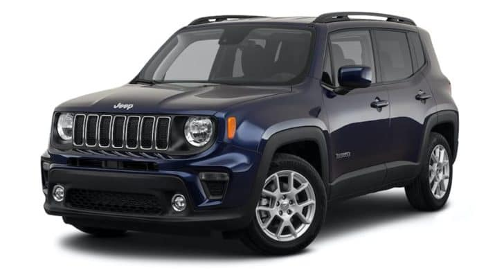 A dark blue 2021 Jeep Renegade Latitude is angled left.