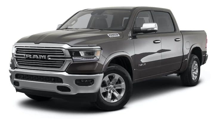 A black 2021 Ram 1500 is shown angled left.