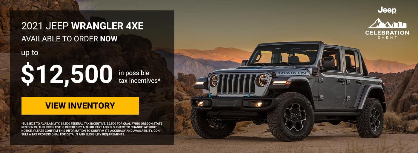 2021 Wrangler 4xe In-transit and available to order NOW!, Up to $12,500 in possible tax incentives*