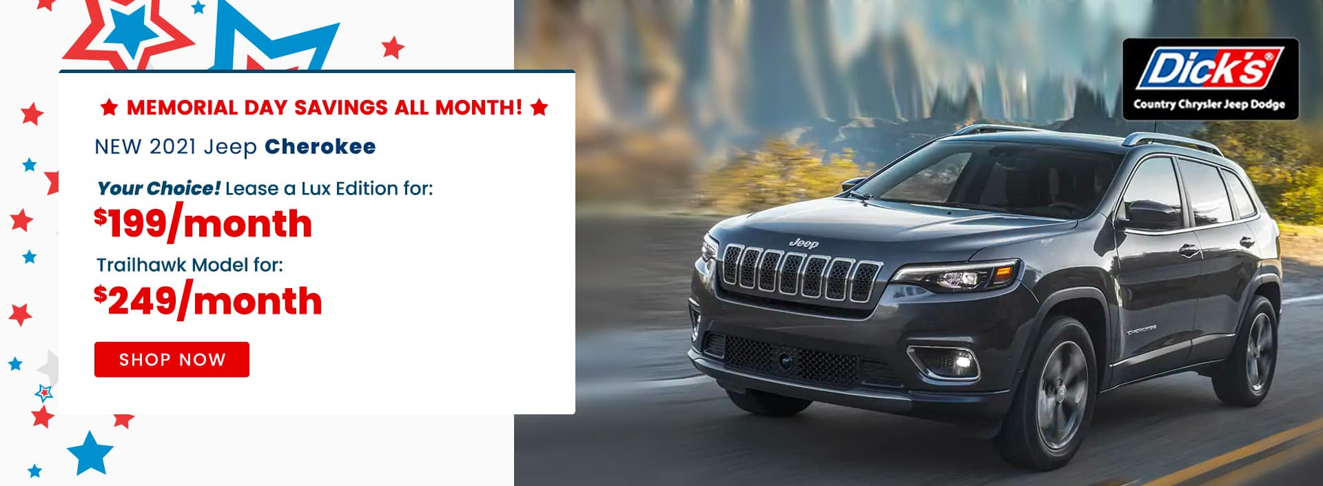 NEW 2021 Jeep Cherokee Your Choice! Lease a Lux Edition for $199 / month or Trailhawk Model for $249 /mo