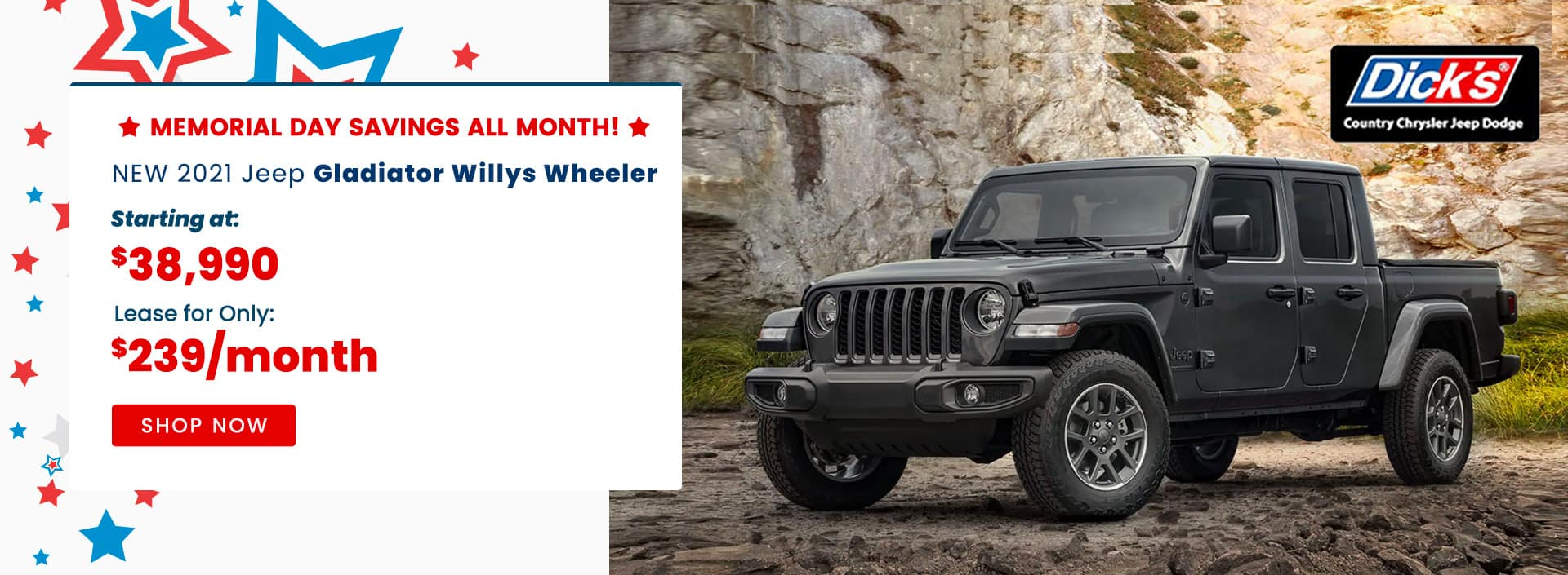 Jeep Gladiator Willys Wheeler Starting at $38,990 Lease for only $239/month