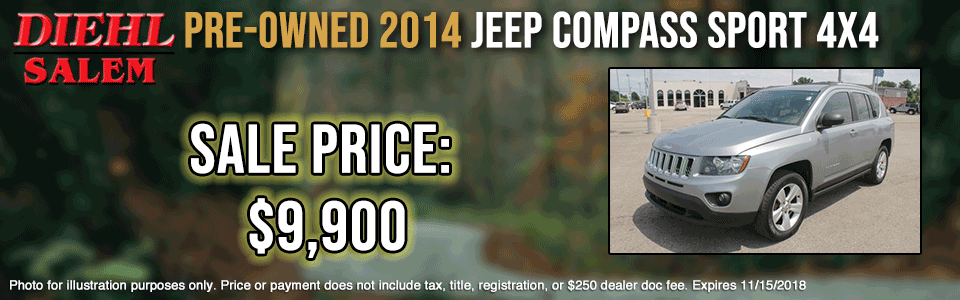 pre-owned vehicle specials P0007--2014-JEEP-COMPASS-$9,900-OCT pre-owned specials preowned specials used specials salem specials ohio specials certified preowned specials CPO chrysler dodge jeep ram
