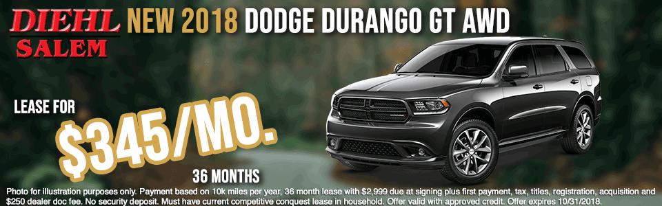 SC1145--2018-DODGE-DURANGO-GT-AWD--OCT Diehl automotive diehl auto diehl of salem specials new vehicle specials Chrysler specials dodge specials jeep specials ram specials lease specials salem ohio specials