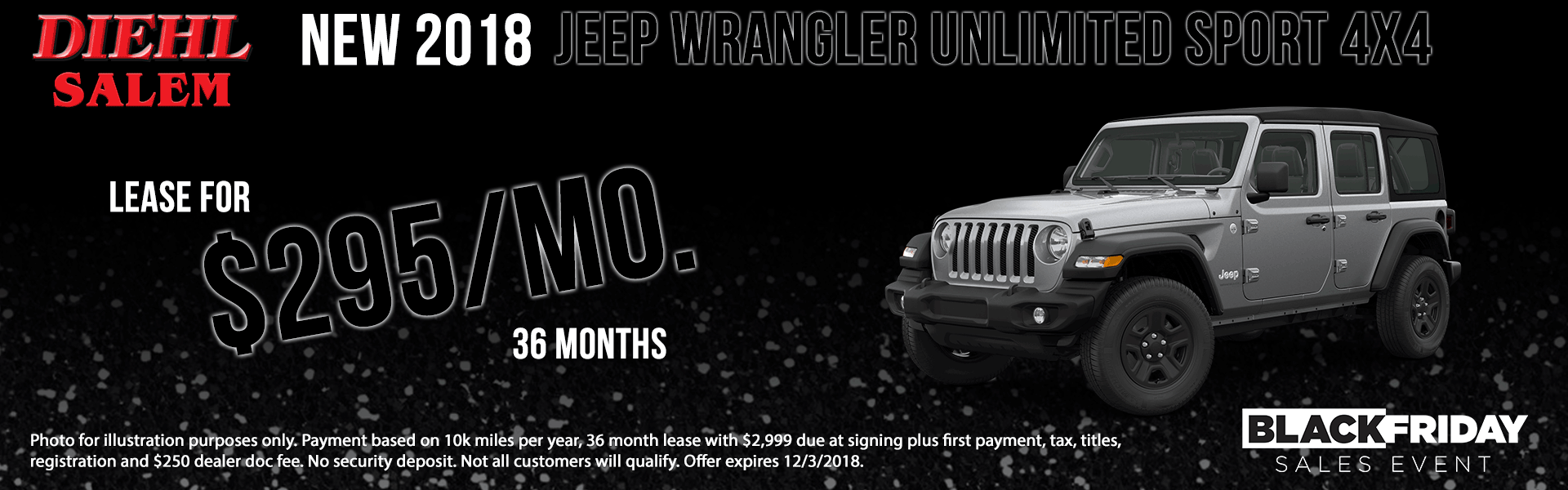 Diehl of Salem ohio chrysler jeep dodge ram new and used sales, service, parts, accessories, monthly specials NEW 2018 JEEP WRANGLER UNLIMITED SPORT 4X4